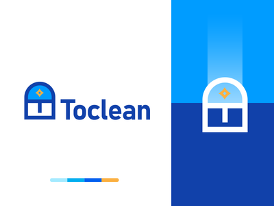 Toclean clean cleaning service branding logo design design identity mark flat icon logo
