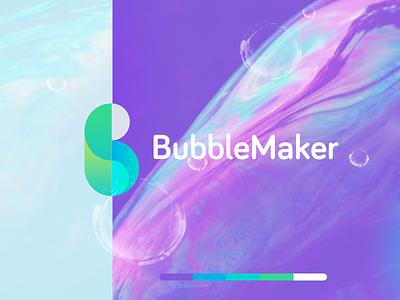 Bubblemaker kids bubble gum bubble ios logo design branding identity app mark flat icon design logo