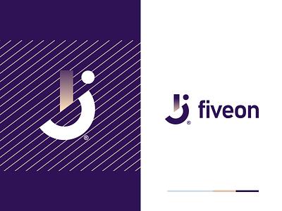 Fiveon vector corporate technology minimal branding app logo design identity mark flat icon design logo