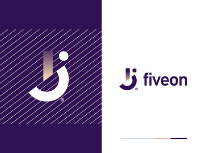 Fiveon vector corporate technology minimal branding app logo design identity mark flat icon design logo
