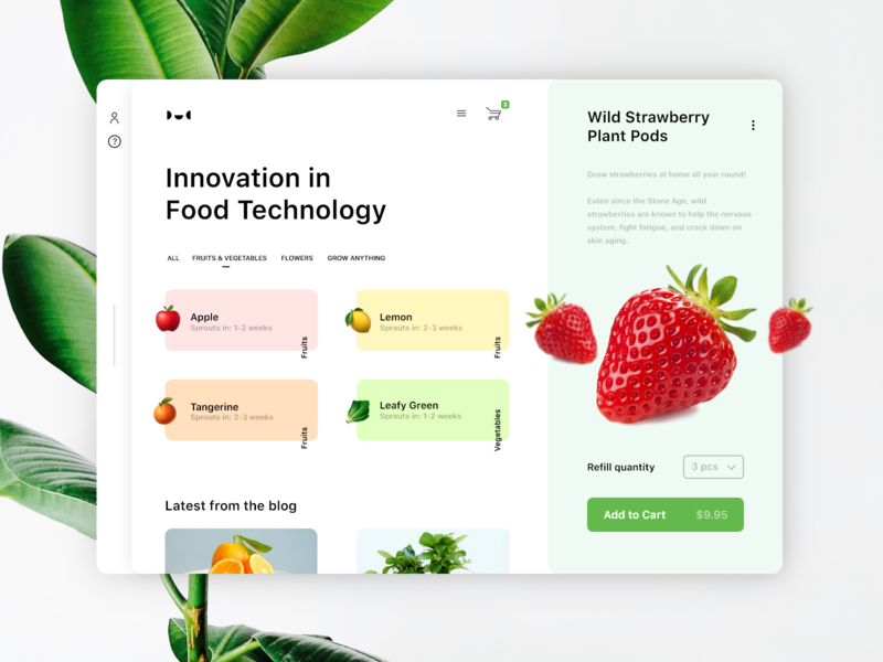 Indoor Smart Garden Landing Page tablet ecommerce smart recipe technology cook landing page minimal plant food interaction concept web strawberry interface mobile ux ui visual design app
