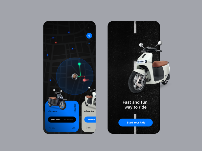 eScooter App Dark Mode dark mode ios clean minimal booking bike interaction map interface mobile rent sharing scooter electric ux ui visual design app