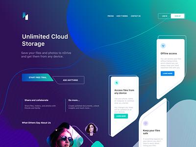 Cloud Services Landing Page user interface user experience design technology interaction mobile visual design branding storage cloud app ux ui web minimal landing