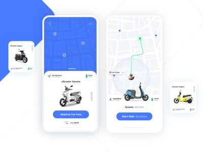eScooter App ios clean minimal booking bike interaction map interface mobile rent sharing scooter electric ux ui visual design app