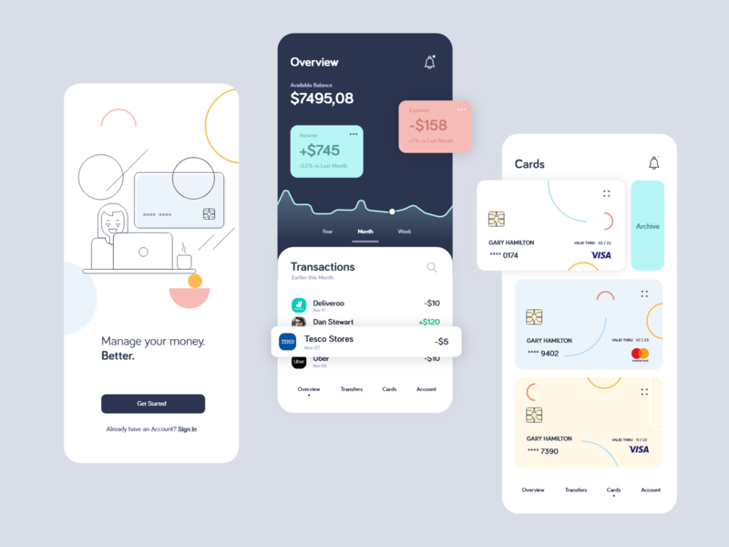 Financial App payment investment services financial e-finance budget banking bank management account ux ui mone ios fintech finance app design app dashboard analytics