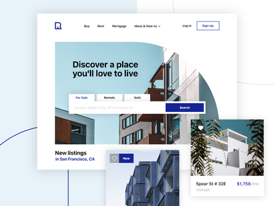 Real Estate Landing Web Site investment website design mortgage interior minimal app property homepage experience interface home house landing landing page website web real estate agency ux ui