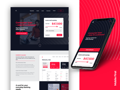 Banking - Mobile App & Website fintech bank lading page homepage design ui ux mobile app payment money hero interface responsive website web card banking finance financial