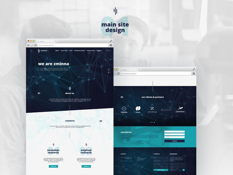 webdesign for marketing research agency agency research connection lines dots neurons blue responsive www web wedesign