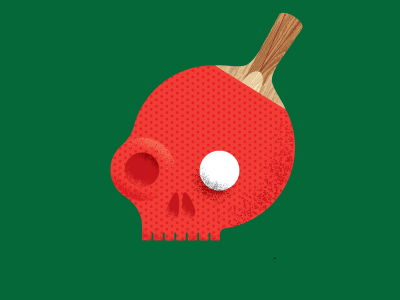 Skull a day #15 skull ping pong table tennis paddle