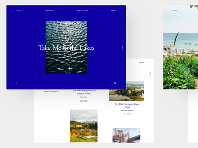 Take Me to the Lakes lakeside story lakes books layout typography mobile web blue design