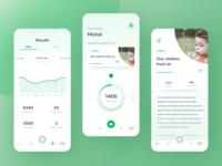 Movello app vector green steps charity app design mobile typography app design ux