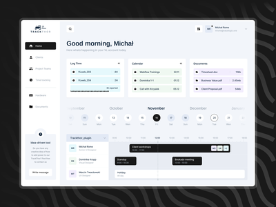 Trackthor dashboard ui admin clean dashboard tracker timeline cards web desktop dark uxui ux