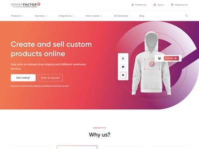 SmartFactore textile white hoodie products print gradient ui website web