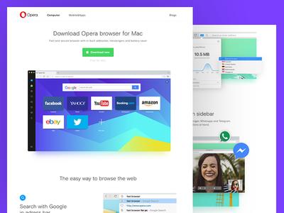 Opera main page proposition white messanger browser opera ui design web design