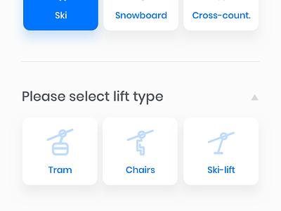 Winter Sports App objectivity ui ux ski snowboard white blue slope winter sport application