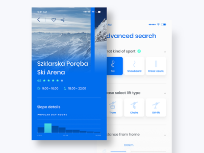 Winter Sports App objectivity ui ux ski snowboard white blue slope winter sport application