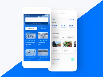Winter Sports App 2 snowboard snow ski blue white ux ui mobile minimal flat app