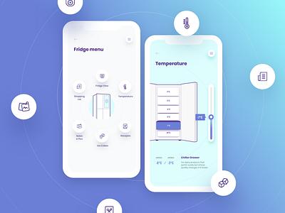 Smart fridge icons blue phone app ux ui design fridge smart
