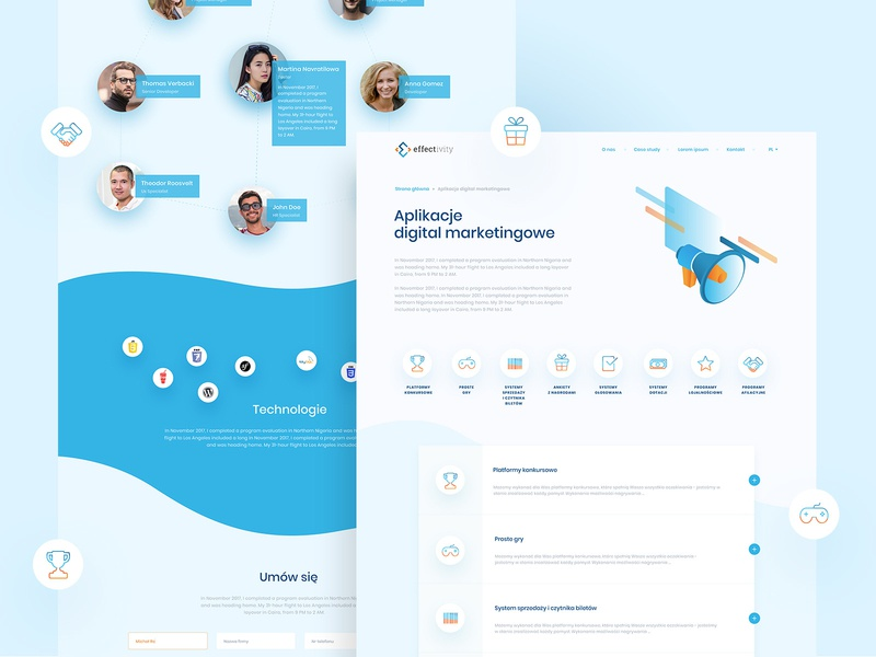 Software house, subpages application ui layout waves blue icons illustration subpage ui