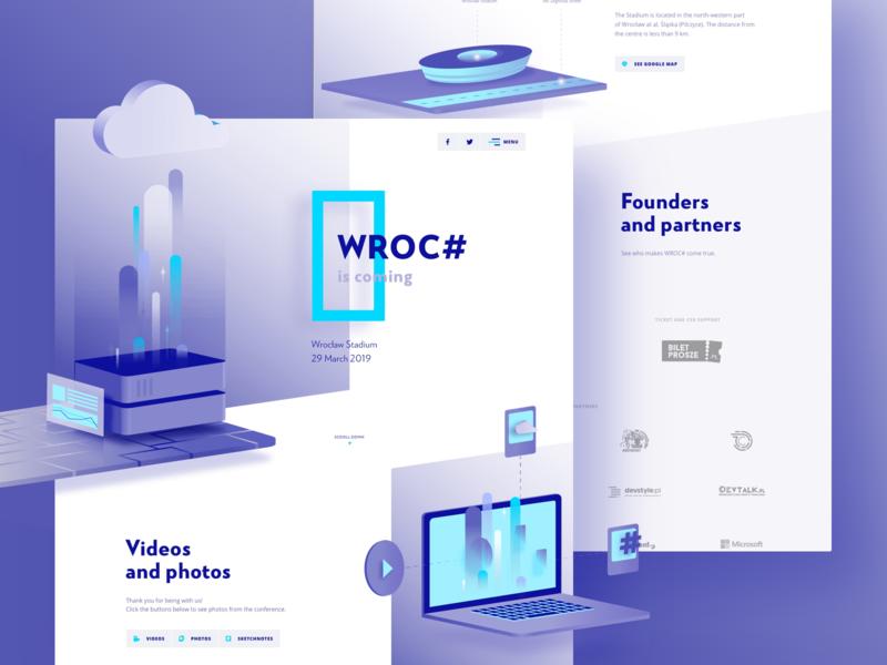 Wroc# 2019 vector hero product website typogaphy landing illustration homepage gradient ux  ui ux event layout web design