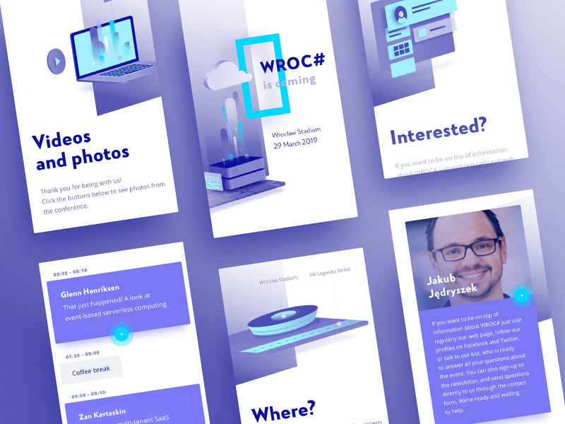 WROC# 2019_mobile typography product illustration homepage gradient event conference ux  ui ux ios mobile design