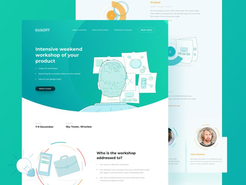 Workshop landing page design product web design layout landing page event ux ui desktop workshop illustration