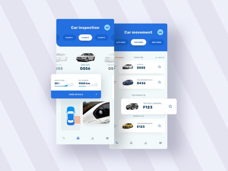 Car Inspect App rental ui list blue damage details inspection car car app ux design