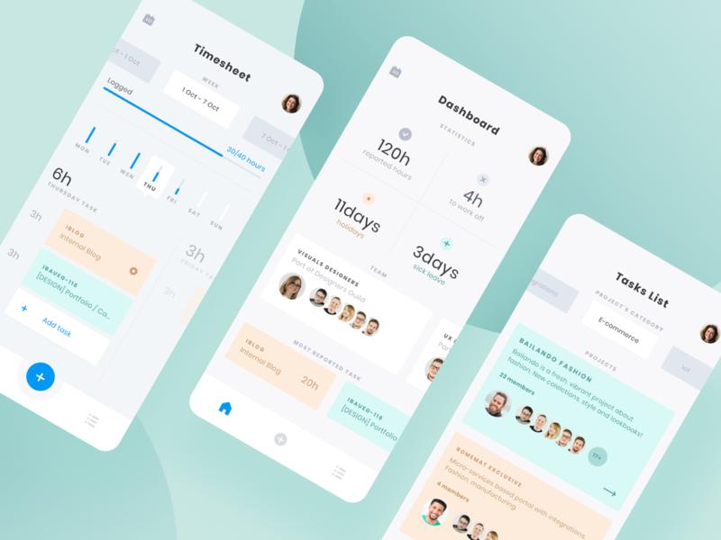 Work Log App ui app concept project ux uidesign mobile tasks dashboard timetracker app