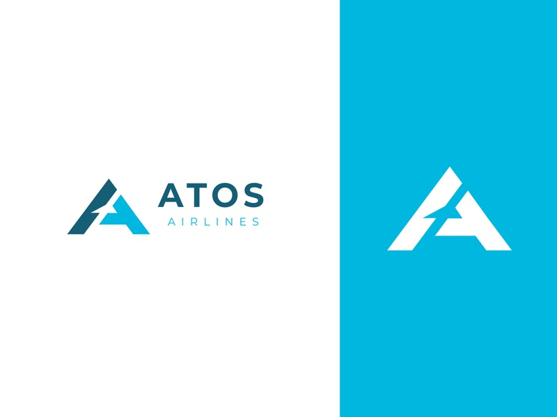 ATOS airlines blue fly air airplane branding logo aircraft