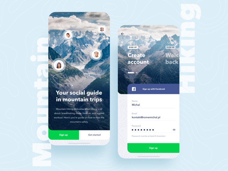 Mountain Hike App #001 ux minimal signup trips daily ui social hiking mountain mobile app
