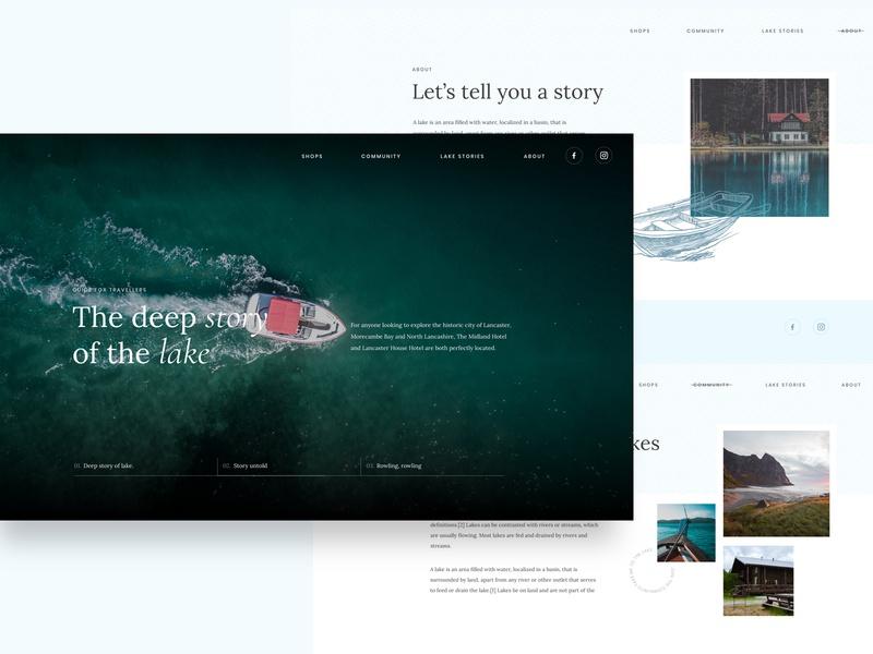 Deep story website dark about web typography blue boat lake ui ux website