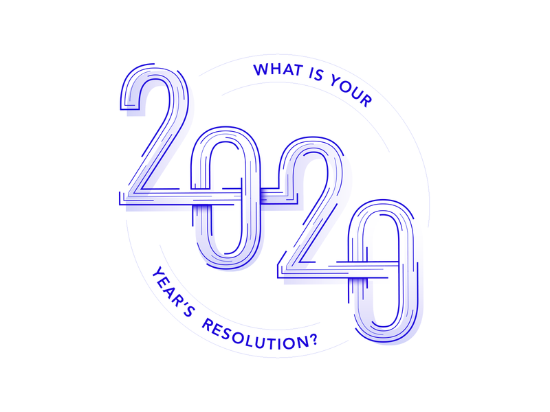 New Year's resolution gradient shadow 2020 lines year blue typography illustration vector
