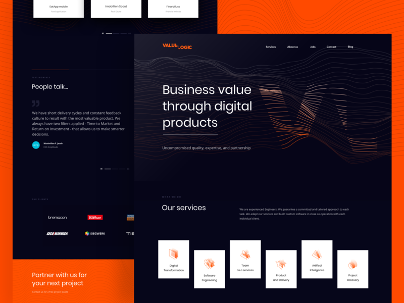 Valuelogic website dark ui product orange dark mode vector branding typography web design ui ux