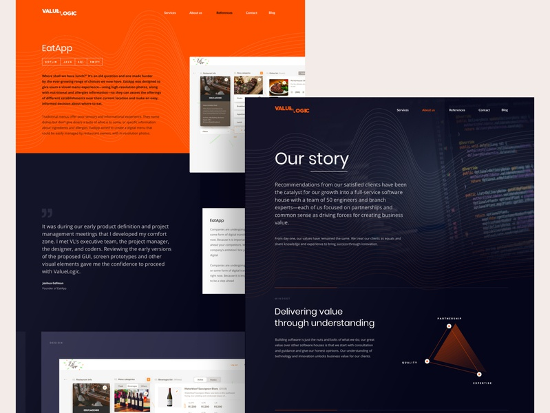 Valuelogic website_2 oranges dark product web typography vector ui design ux
