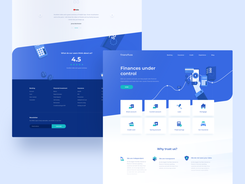 Finanzfluss Mainpage loan credit cash money blue finance vector product layout web illustration ui ux