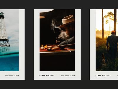 Corey Woosley Cards woosley corey photography logo logotype wordmark card layout identity print