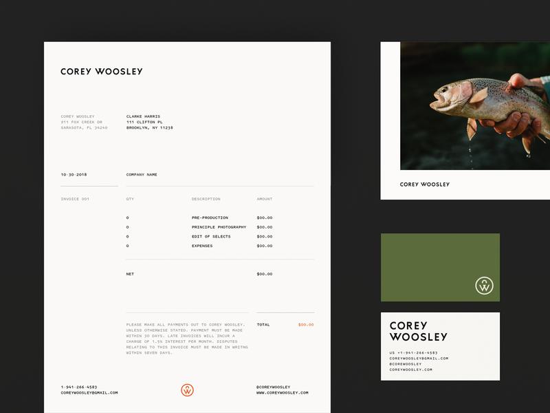 Corey Woosley Stationary symbol wordmark logotype logo layout photohrapher woosley corey print identity