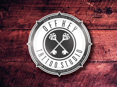 Off Key Tattoo Studio studio tattoo keys key crest wood branding identity