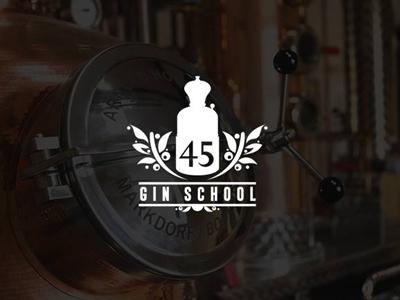 45 Gin School  45 numbers typography branding identity logo still distillery school gin school gin alcohol