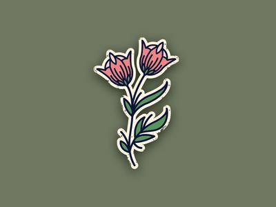 Tattoo style flower illustration bud rose logo illustration icon sticker leaf pink flower tattoo