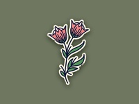Tattoo style flower illustration