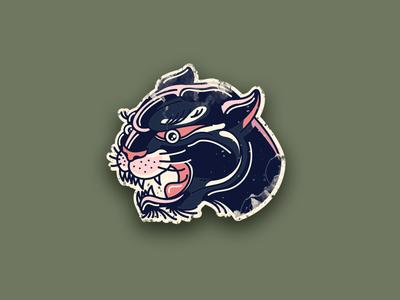 Tattoo style panther illustration animal icon illustration sticker worn black black cat big cat cat panther