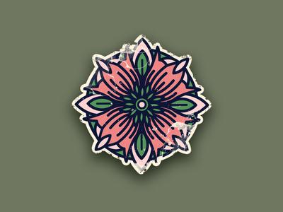 Tattoo flower Icon green icon logo round leaf pink flower tattoo