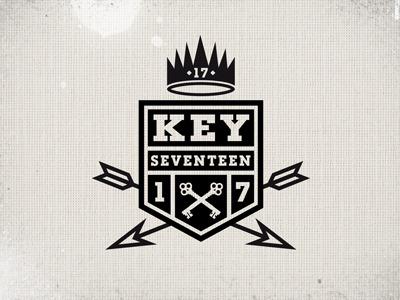 Keyseventeen keys type arrows numbers logo crest crown identity