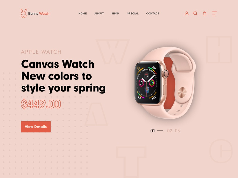 Bunny Watch animation ux website flat typography minimal branding design awesome