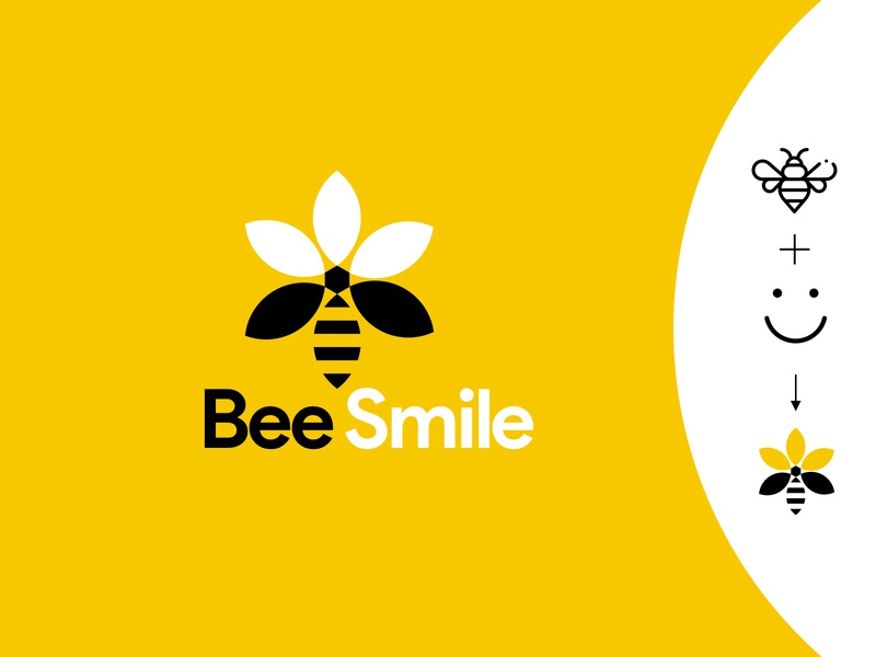 Bee Smile web ux awesome logo typography logo minimal vector branding design awesome