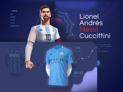 Messi Web site manchester city barcelona inter fifa ui ux interaction web soccer argentina uefa sport messi football club football animation