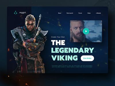 Assassin's Creed Valhalla website design web design website web app web concept xbox landing page design landing page landing art creed vikings viking gamer games ubisoft game assassins creed assassin