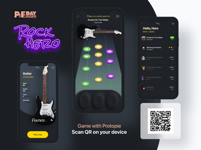 Rock Hero Game with Protopie playoff pieday game design animation prototype animation prototyping concept product ux ui interaction mobile mobile app song rock guitar game interaction design interactive protopie