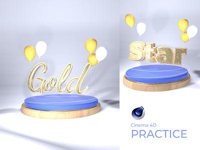 Cinema 4D Practice model lettering letter gold foil gold cinema 4d cinema4d 3d modeling 3d artist